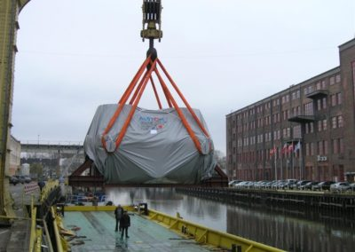 2 turbines with the total weight of 98 T: weighing, transport from Elbląg to the port of Gdynia, loading onto a ship